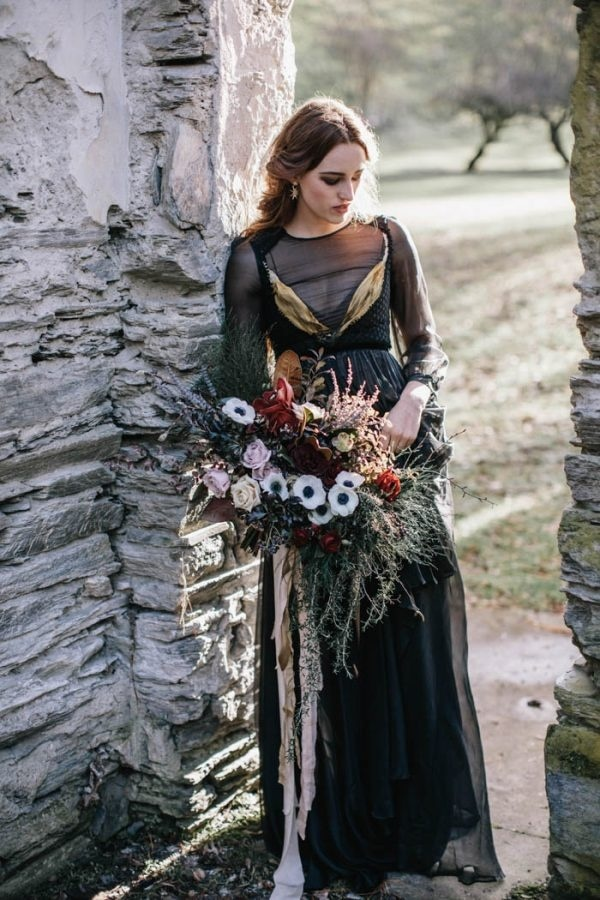Black Wedding Dress and Moody Floral Bouquet