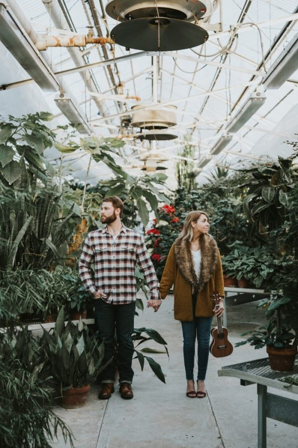 Fun and Modern Engagement Session in a Greenhouse