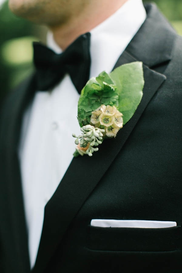 Unique Boutonniere with Large Leaf and Single Flower