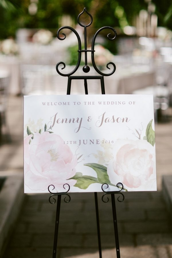 Organic Light Pink Floral Welcome Sign