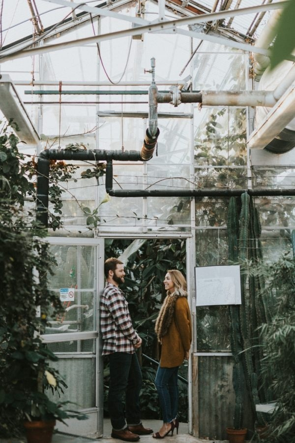 Playful Mann Leiser Memorial Greenhouse Engagement Session