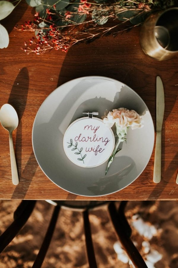 Alternative Elopement Inspiration in a Cotton Field Place Setting