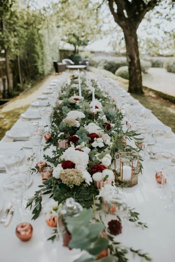 Gorgeous Bordeaux Winery Wedding at Chateau Franc Mayne Reception Table Floral Design