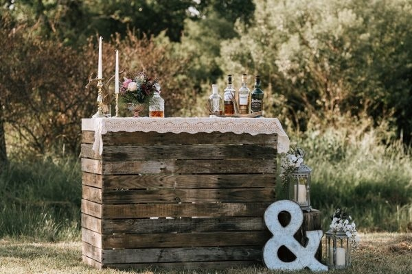 Fall Wedding Inspiration Rustic Bar Setup with Marquee Letter
