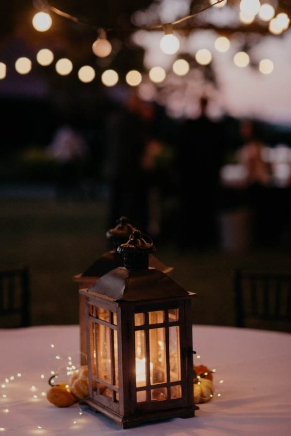 Pumpkin-Filled Fall Wedding Lantern Decor