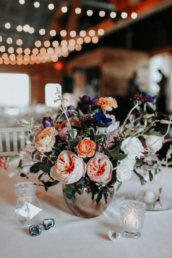 Bold and Soft Fall Reception Floral Design and Votive Candles