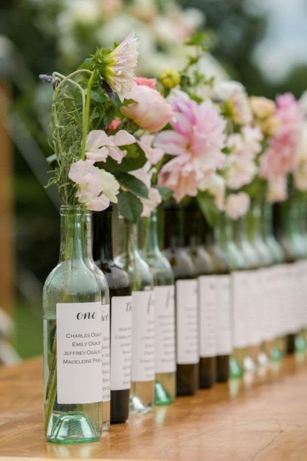 Pink Flowers In Wine Bottle Vases Wedding Inspiration Board
