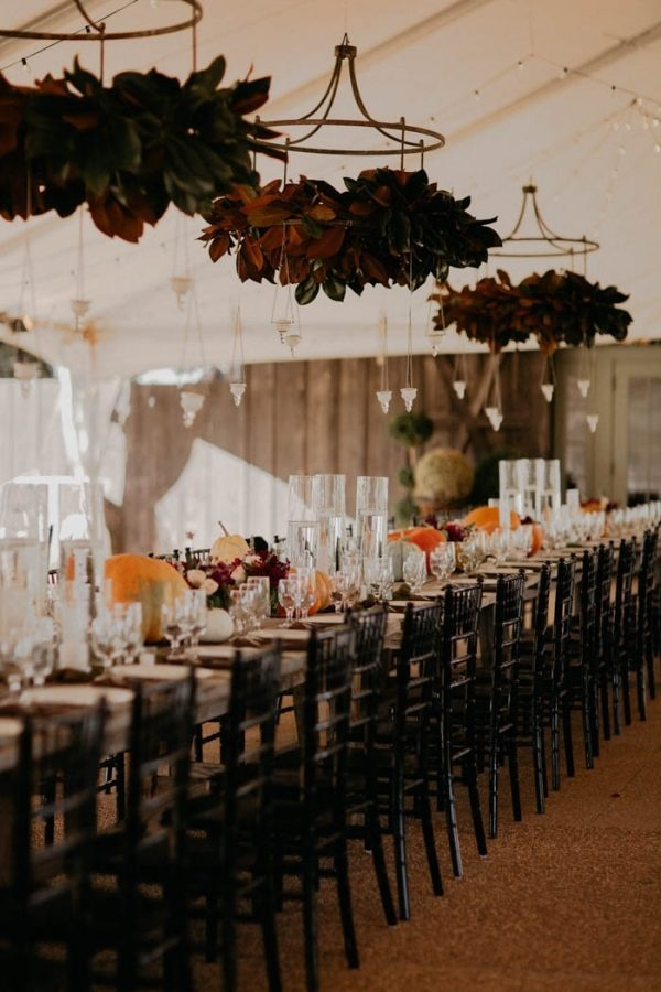 Fall Wedding Reception Inspiration with Hanging Magnolia Installments
