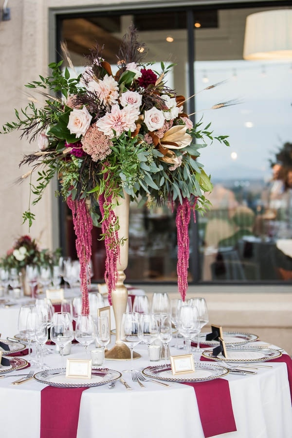 Country Wedding Flowers | Champagne And Burgundy Wine Country Wedding Floral Arrangement