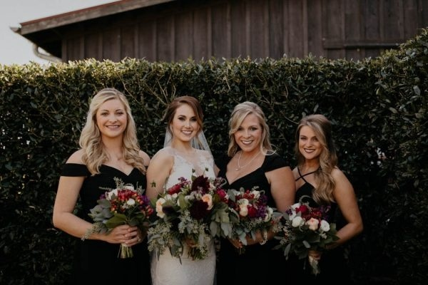 Fall Bridal Party Inspiration Black Dresses and Moody Floral Bouquets