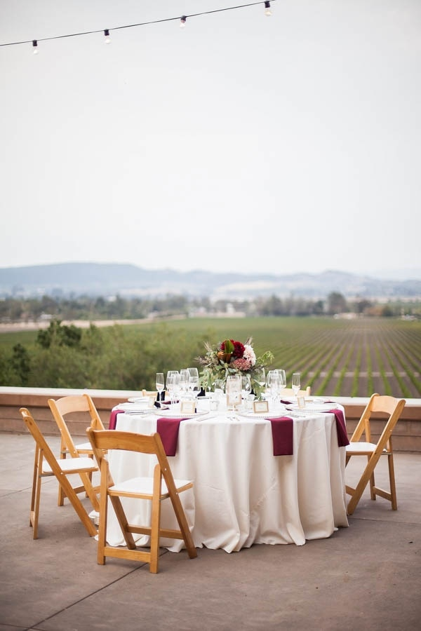 Champagne and Burgundy Wine Country Wedding Reception Table