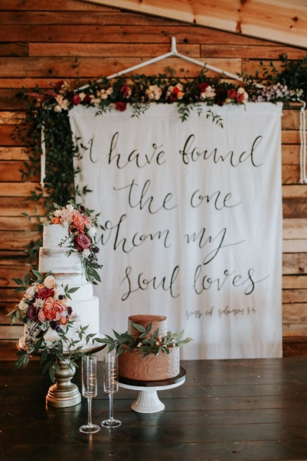 Fall Wedding Cake and Banner Backdrop