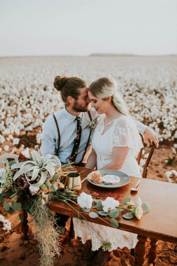 Alternative Elopement Inspiration In A Cotton Field