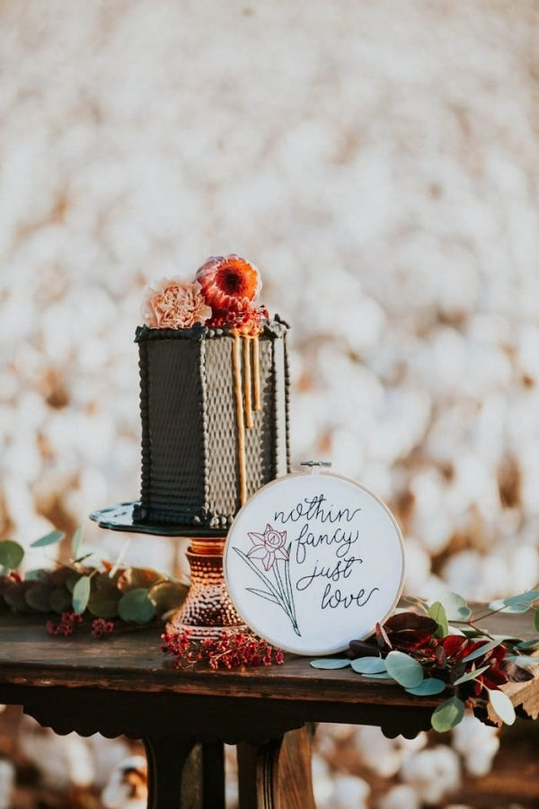 Alternative Elopement Inspiration in a Cotton Field Black Hexagonal Cake with Embroidery Hoop
