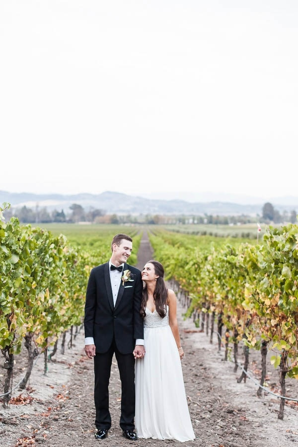 Champagne and Burgundy Wine Country Wedding Bride and Groom Style