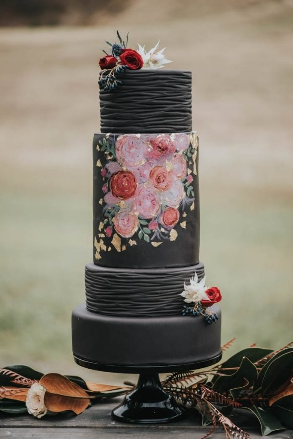 Moody Fall Color Palette Inspiration Black and Pink Cake
