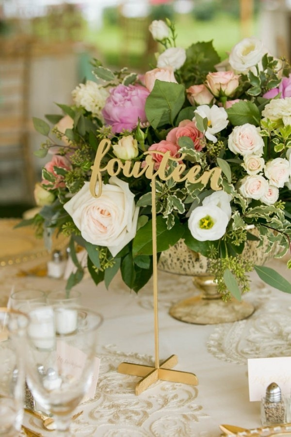 Bright Spring Floral Arrangement and Gold Table Number