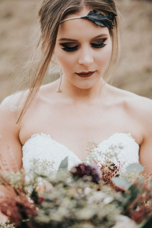 Moody Fall Bridal Style with Leaf Headband and Dark Makeup