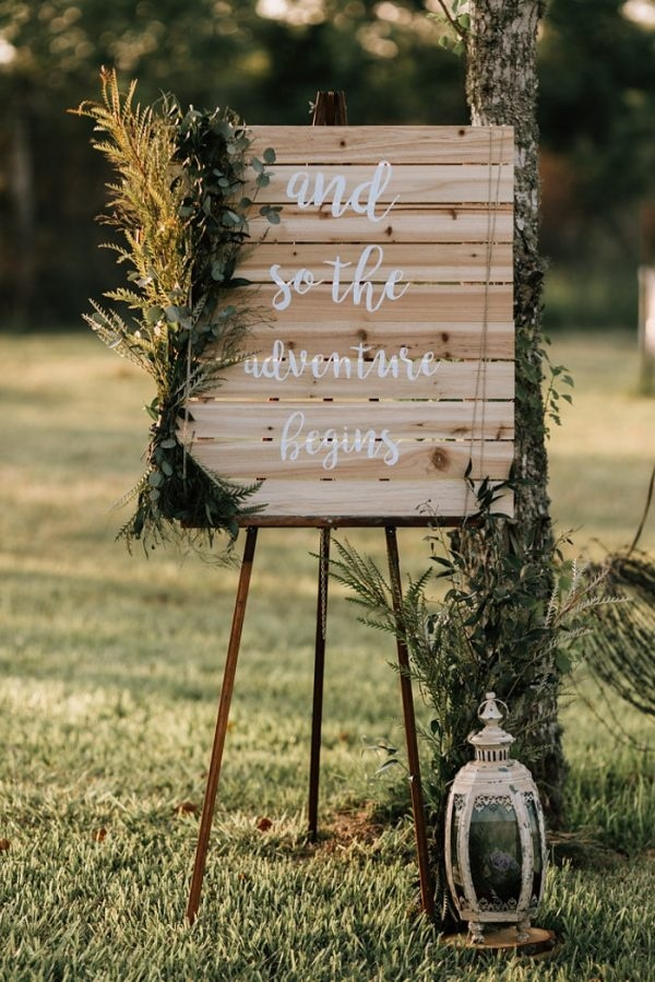 Fall Wedding Inspiration Rustic Sign with Lantern