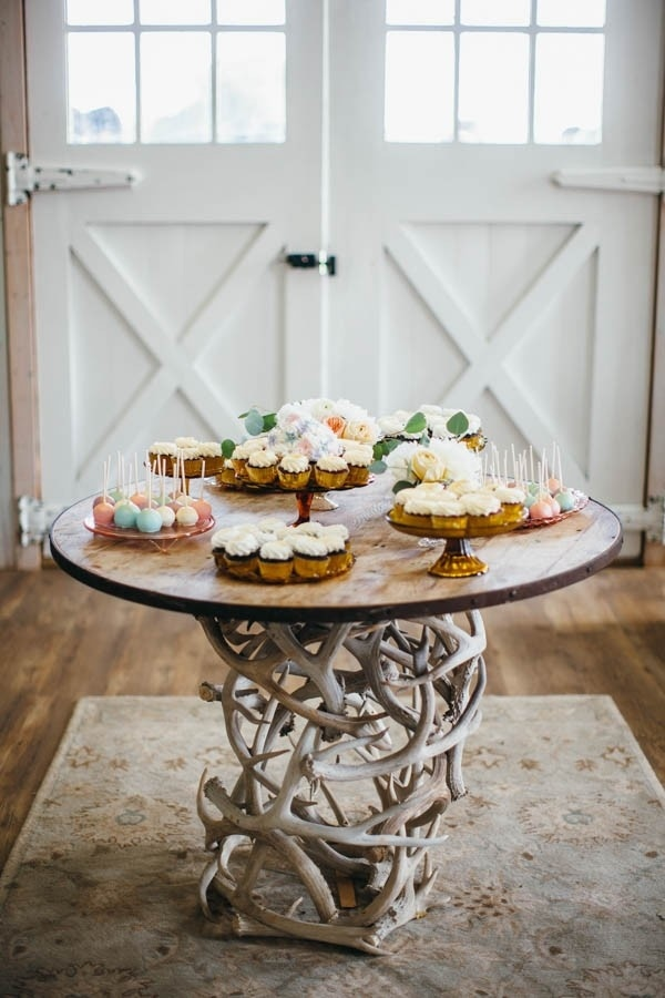 Rustic Cupcake Table In Barn Wedding Reception