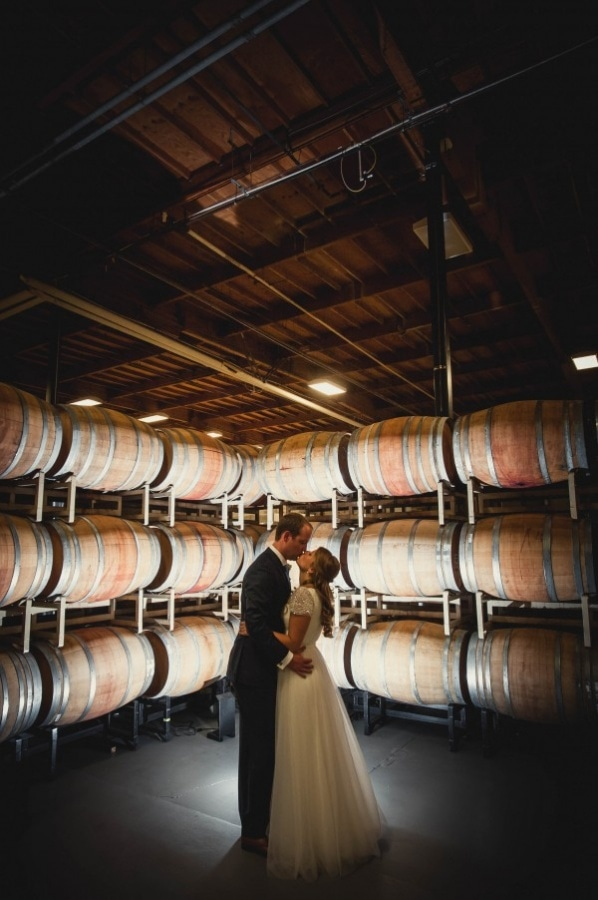 Couple Portrait in the Wine Cellar at Columbia Winery