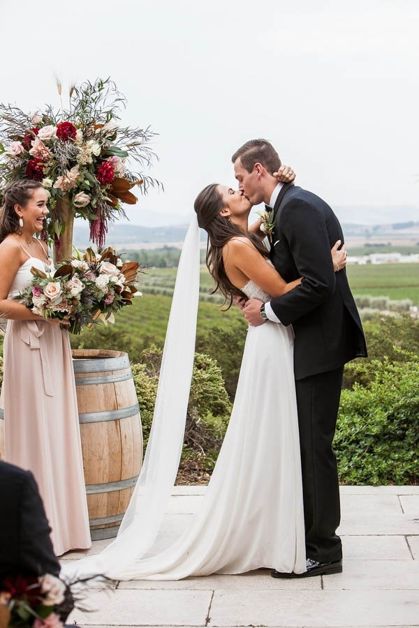 Champagne and Burgundy Wine Country Wedding Ceremony Inspiration ...