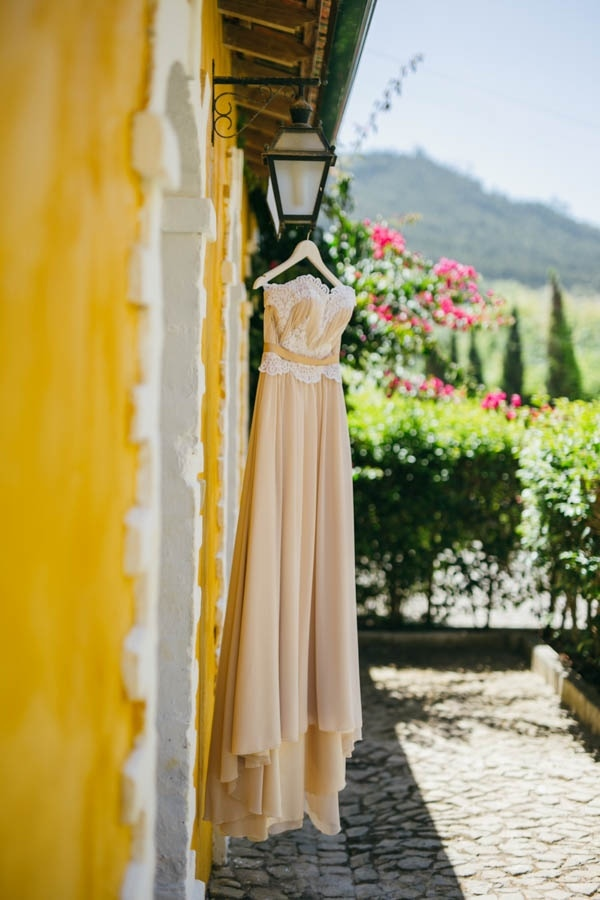 Rustic Vineyard Wedding at Quinta de Santana Champagne Colored Wedding Dress
