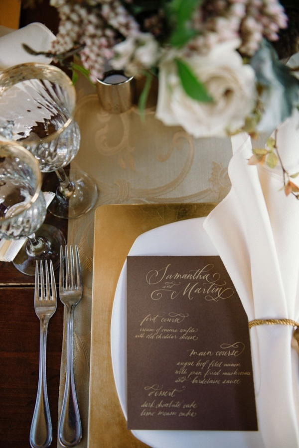 Vintage Elegant Menu and Place Setting Display