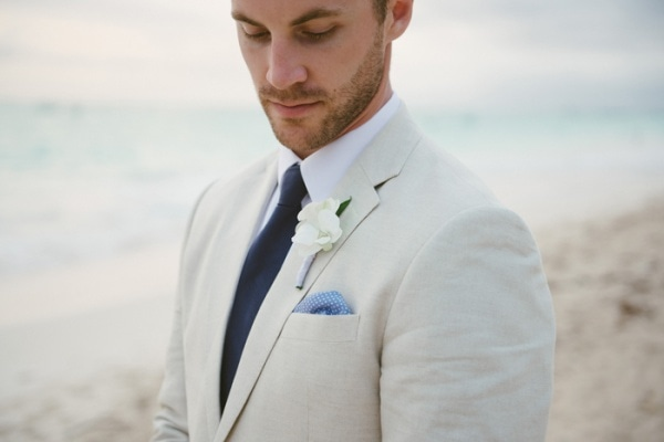 Beachy Light Gray Suit with Blue Polkadot Pocket Square