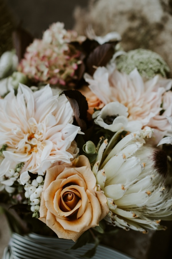 Elopement Bouquet with Peach Roses and Light Pink Dahlias