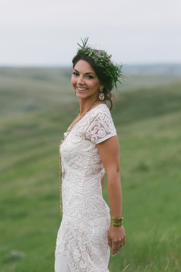 Elegant Bohemian Bridal Look with Greenery Crown and Embroidered Gown