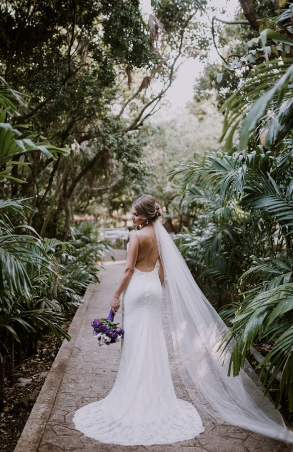 Tropical Backless Bridal Gown Portrait