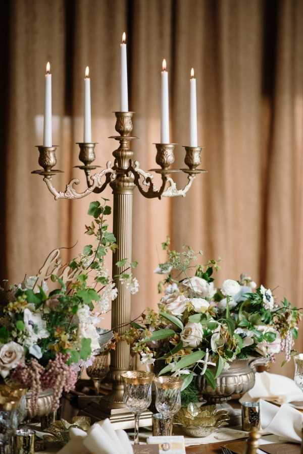 Classic Elegant Candelabra and Floral Centerpiece Display