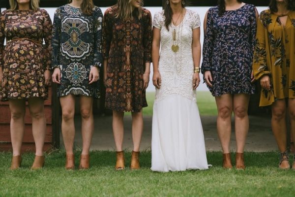 Rustic Bohemian Mismatched Bridal Party Style