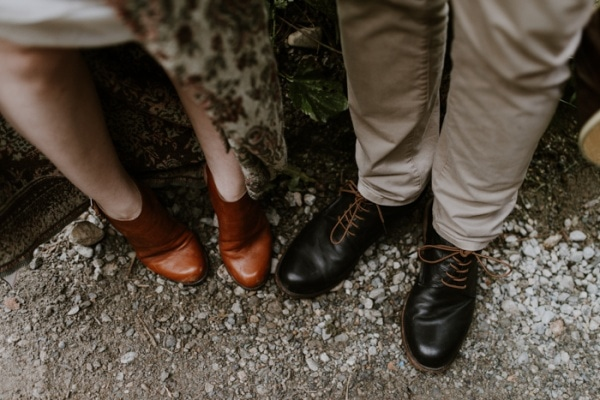 Bohemian Rustic Elopement Bride and Groom Footwear Inspiration
