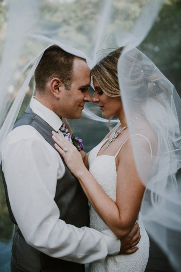 Romantic Bride and Groom Portrait Under Veil
