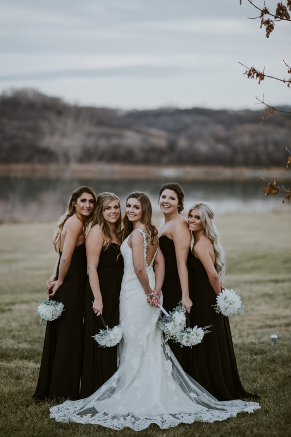 Bridal Party Portraits Featuring Black Bridesmaid Gowns | Wedding ...