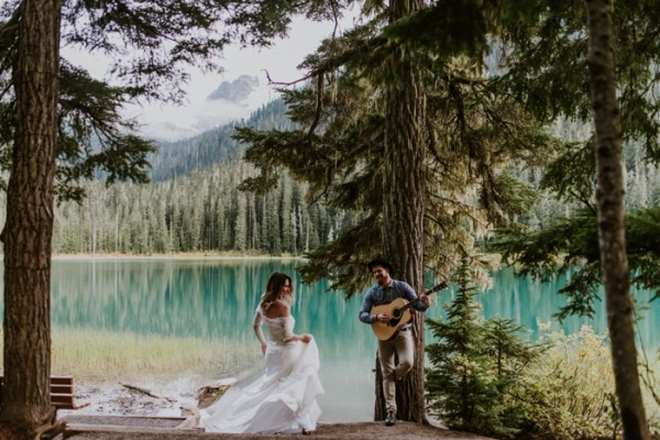 Bohemian Elopement First Look on Gorgeous Canadian Lake