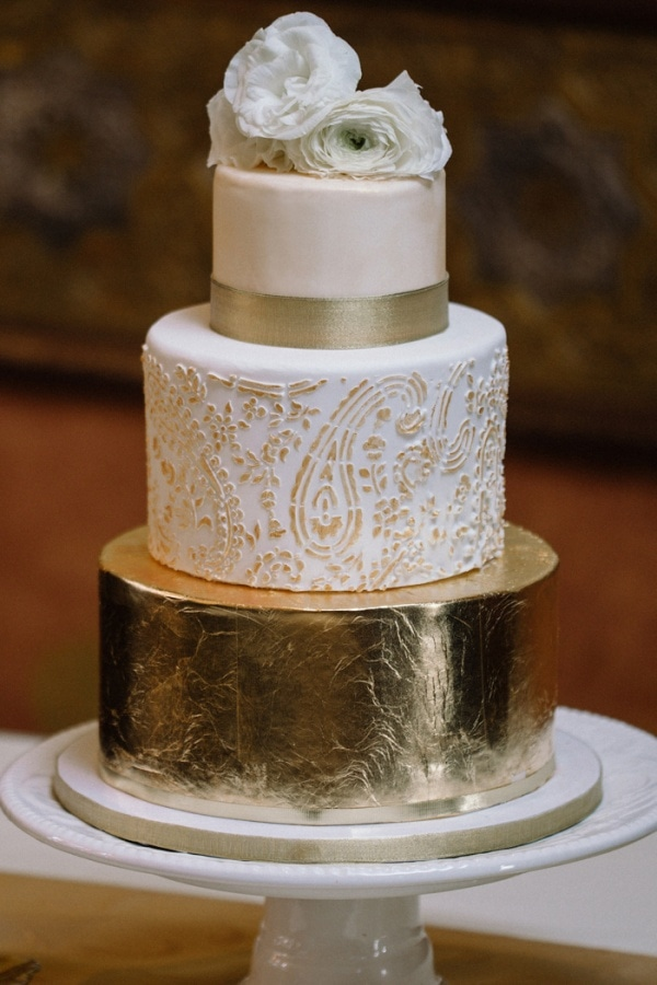 wedding cake gold foil rustic glam gold foil three tiered wedding cake with 22777