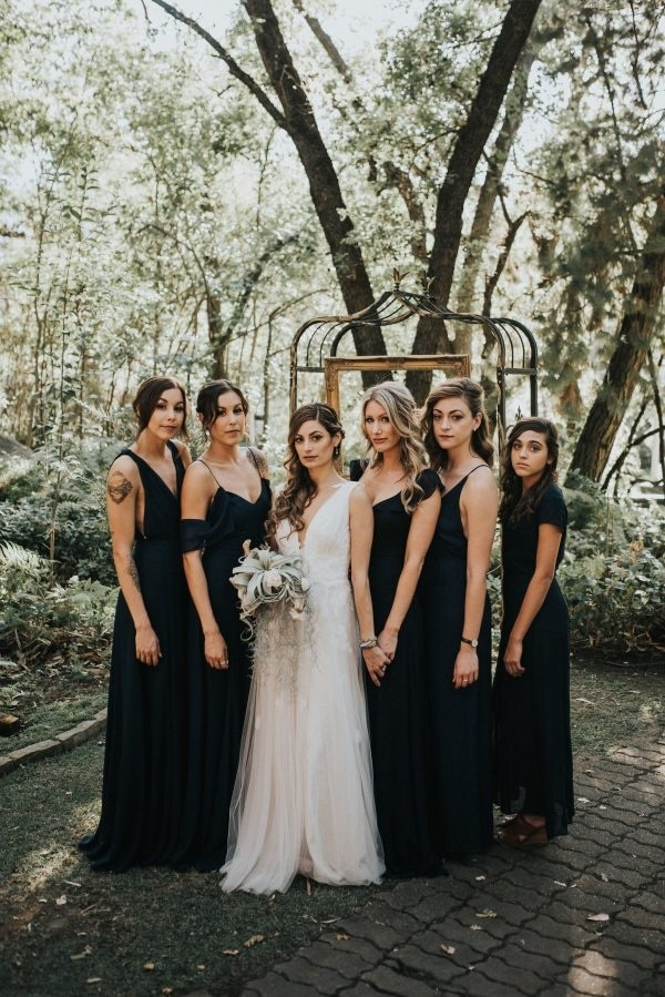 Long Black Bridesmaid Dress | Elegant Long Black Bridesmaid Dresses Wedding Inspiration Board