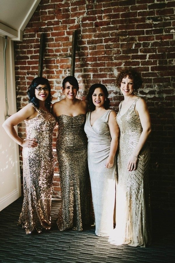 Glamorous Sparkly Mismatched Bridesmaids Dresses