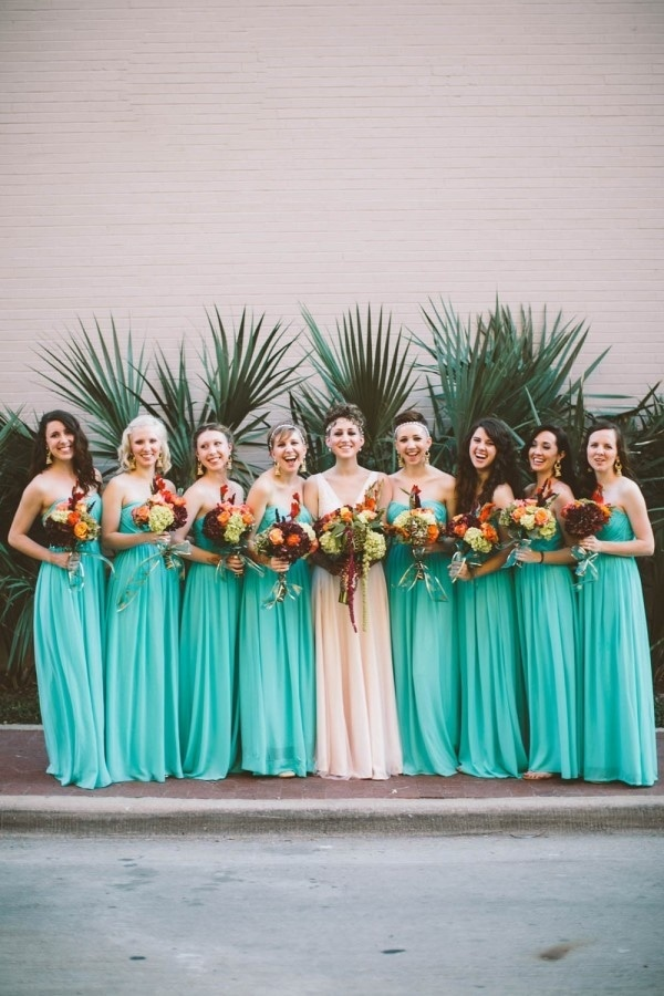 Bright Teal Bridesmaid Dresses