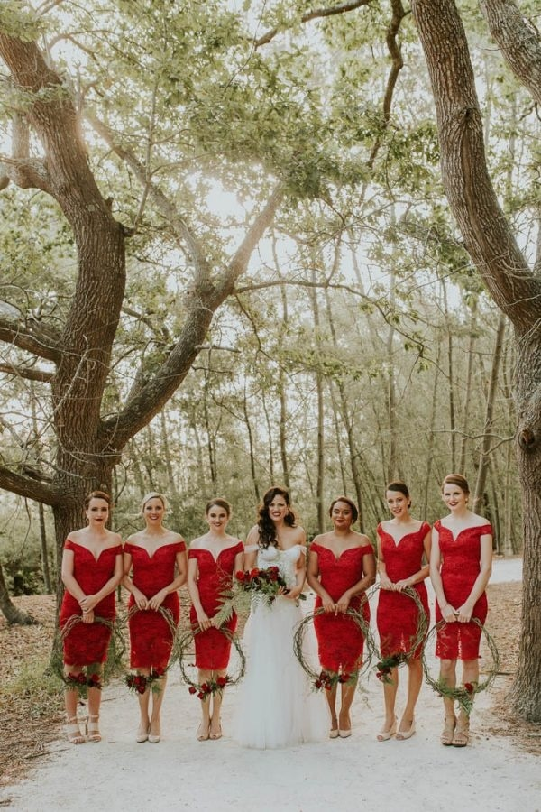 Chic Red Lace Bridesmaid Dresses