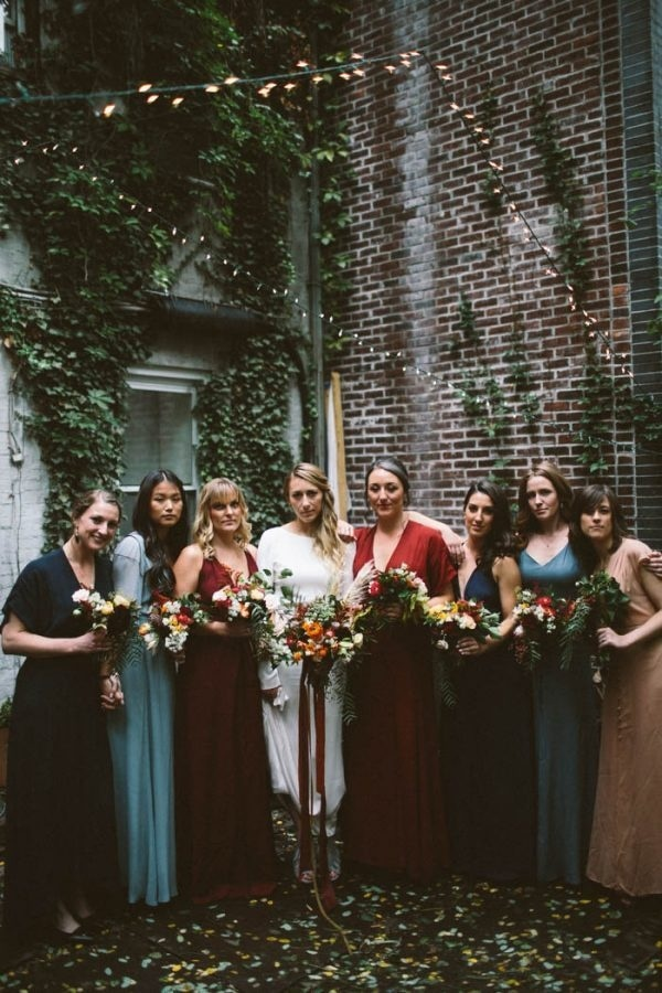 Modern and Edgy Mismatched Bridesmaid Dresses in Blues and Reds