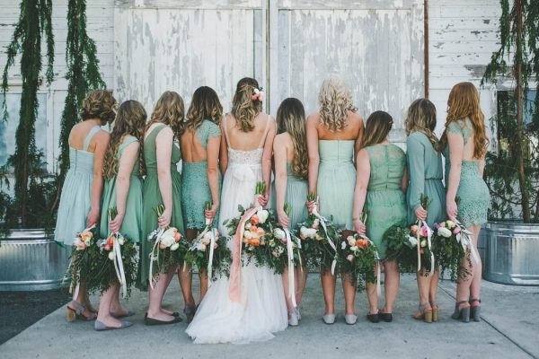 Short Bridesmaids Dresses In Shades Of Green