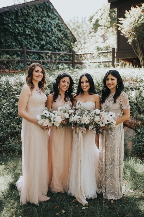 Mismatched Bridesmaid Dresses In Shades Of Pink Ivory And Champagne