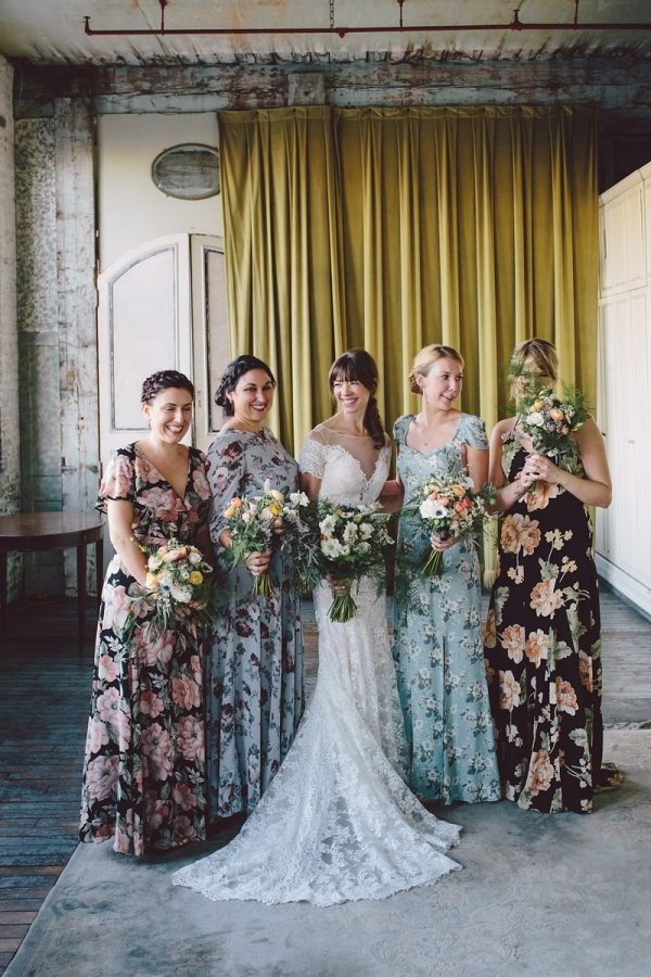 Long Floral Print Bridesmaid Dresses in Different Colors