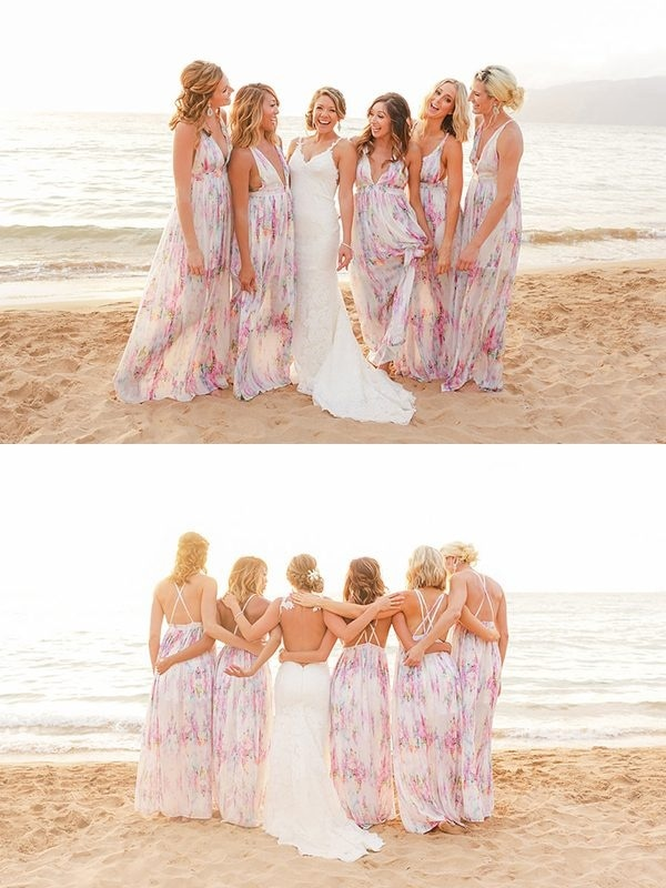 Casual Floral Print Maxi Bridesmaid Dresses Perfect for a Beach Wedding