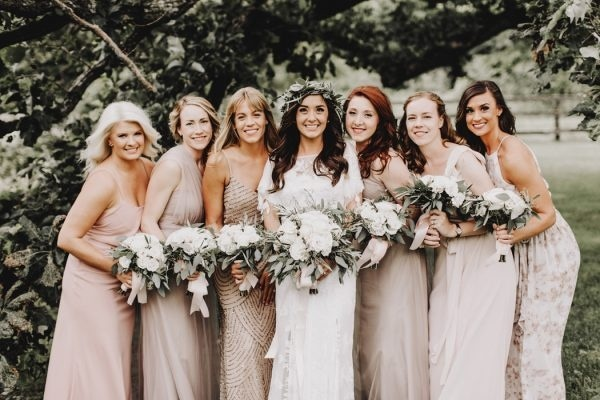 Neutral Bridesmaid Dresses In Varying Textures And Styles