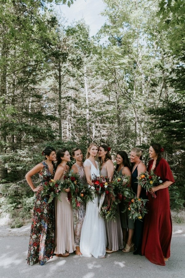 Bohemian inspired mismatched bridesmaids dresses wedding for Winter wedding colors for bridesmaids dresses